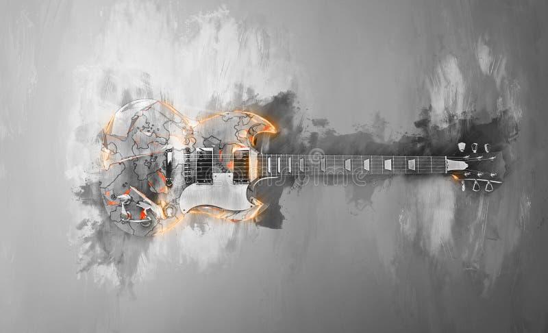Guitare de hard rock - illustration abstraite illustration stock