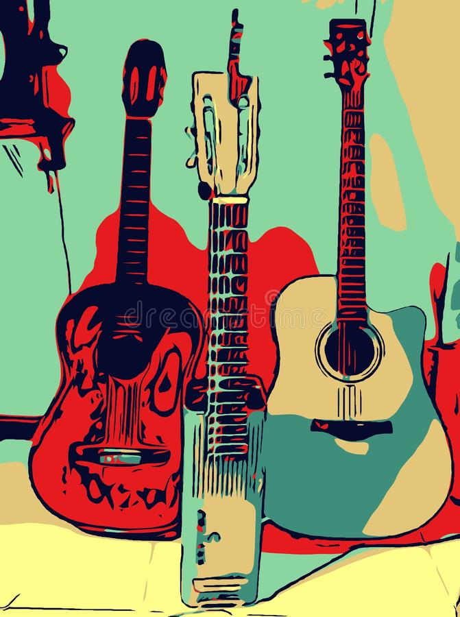 Guitare de musical d'illustration photographie stock
