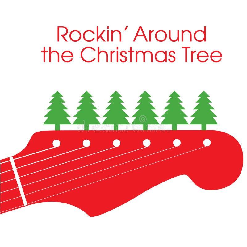 Guitare de Noël de vecteur illustration stock