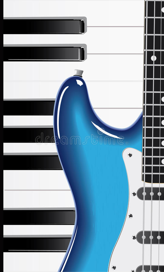 Guitare et clavier de piano illustration de vecteur