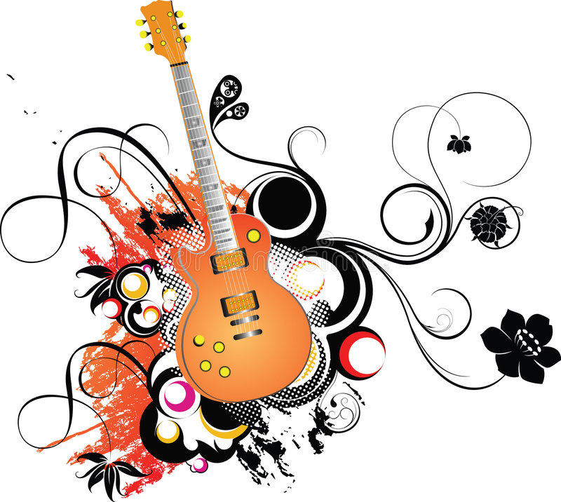 Guitare et floral illustration libre de droits