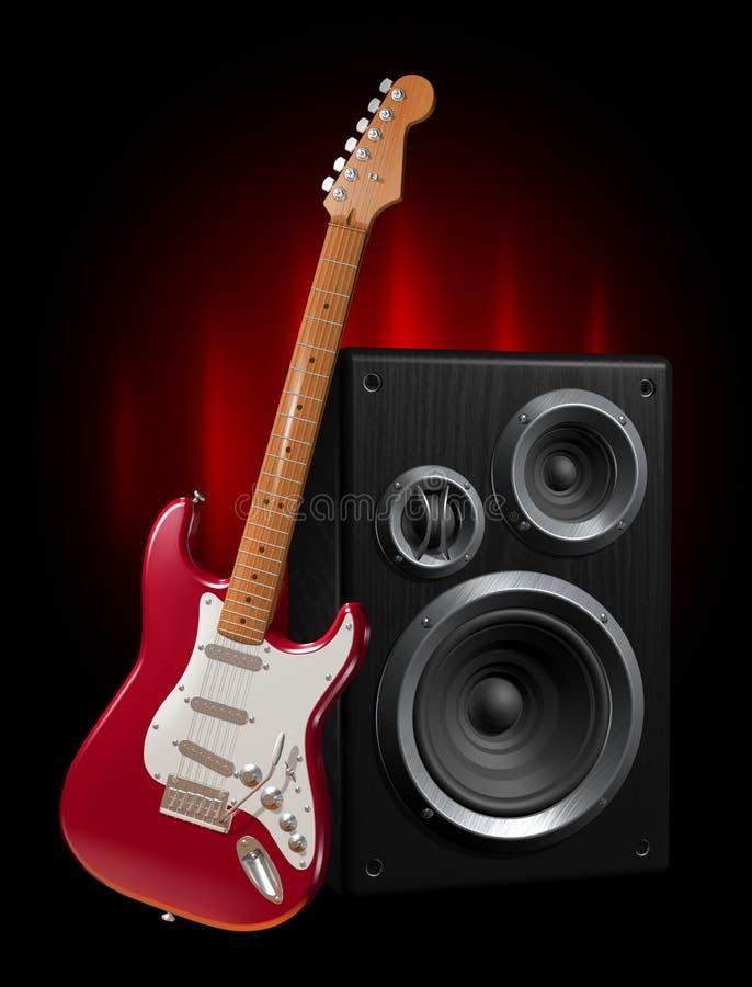 Guitare et haut-parleur illustration de vecteur