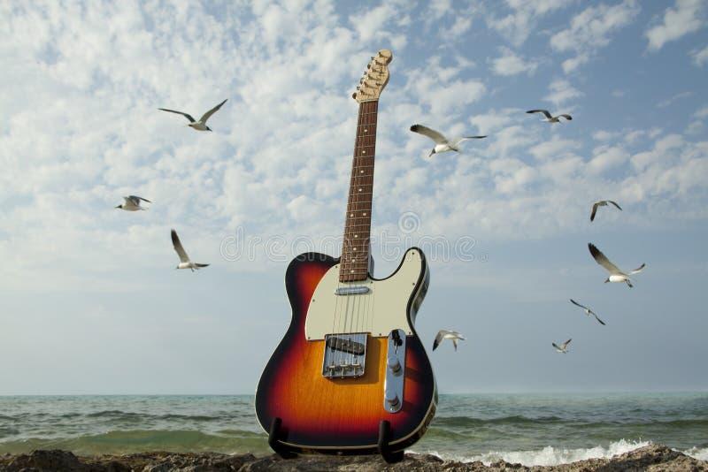 Guitare et mer photos stock