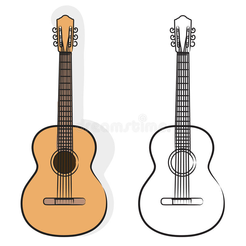Guitare + fichier du vecteur ENV illustration libre de droits