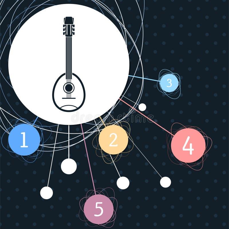Guitare, icône d'instrument de musique avec le fond au point et avec le style infographic illustration de vecteur