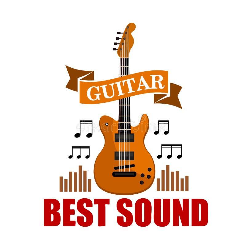 Guitare Le meilleur emblème musical sain illustration de vecteur