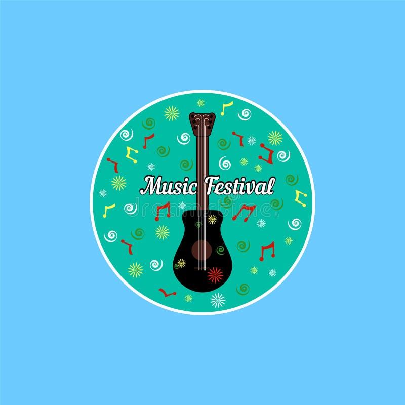 Guitare noire acoustique classique avec des six ficelles dans le style de bande dessinée avec marquer avec des lettres le festiva illustration de vecteur