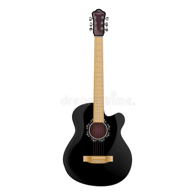 Guitare noire classique avec le modèle de cou et blanc beige autour du trou sain illustration stock