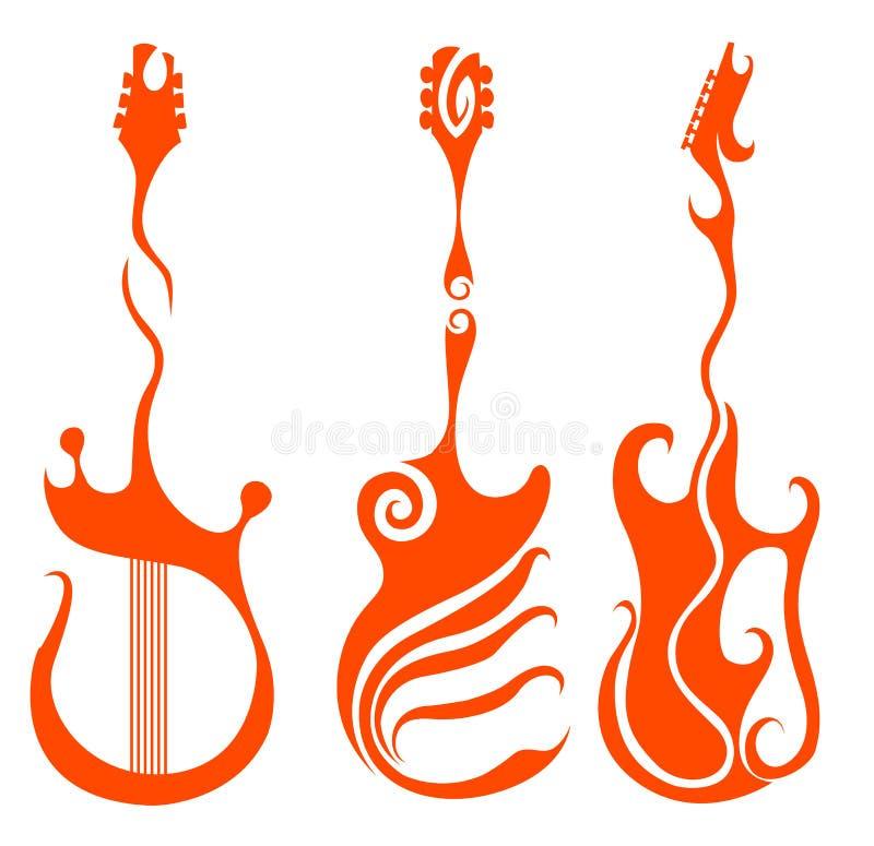Guitare rouge illustration de vecteur