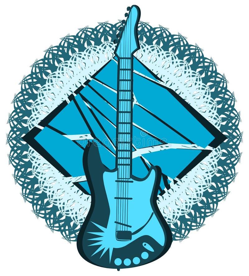 Guitare stylisée sur la décoration abstraite d'isolement illustration stock