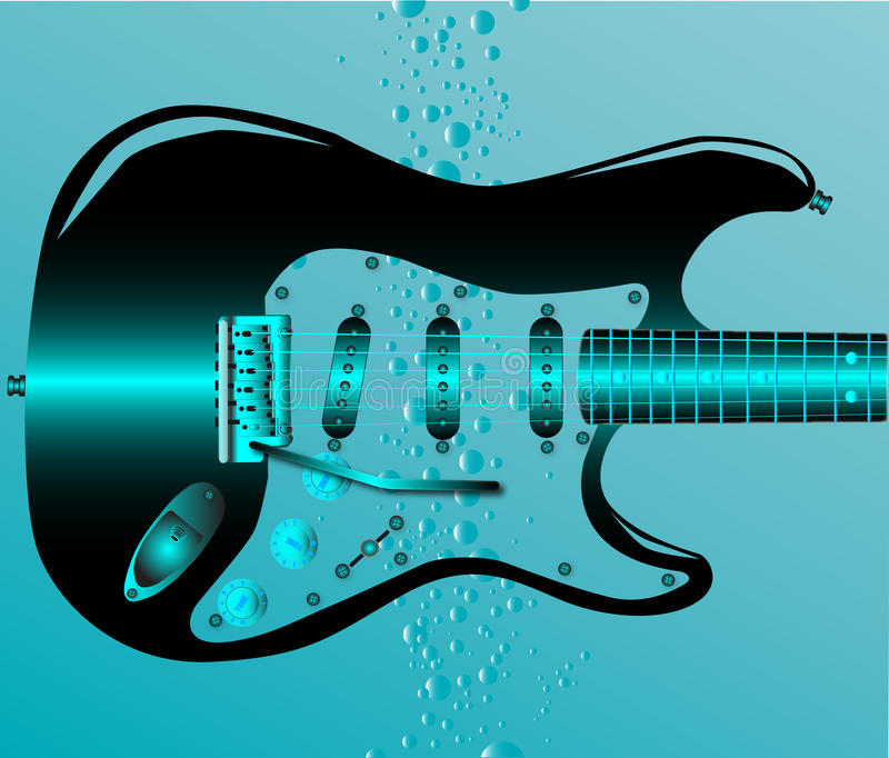Guitare submergée illustration libre de droits