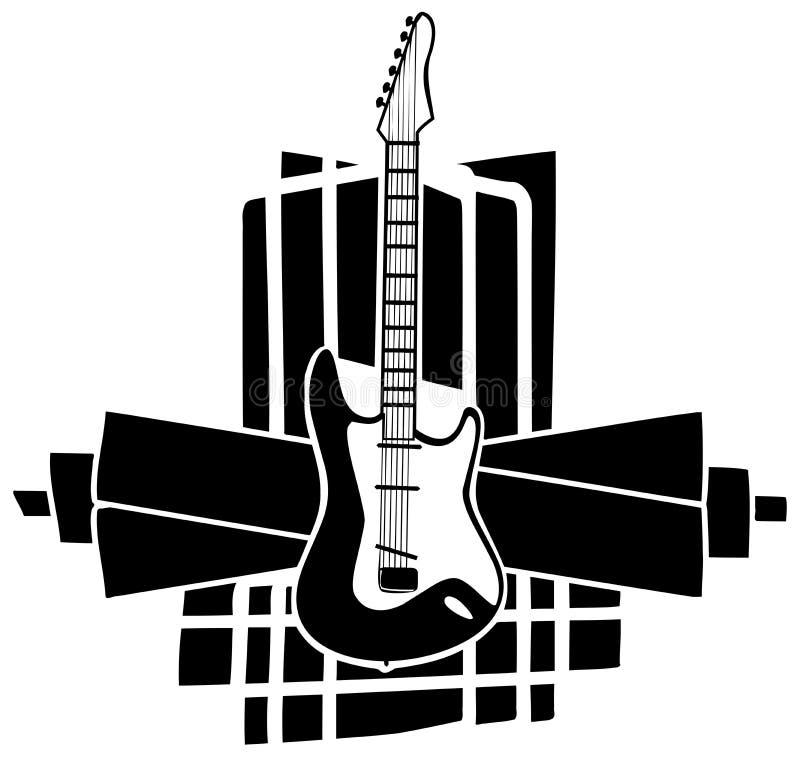 Guitare sur la décoration noire abstraite illustration libre de droits