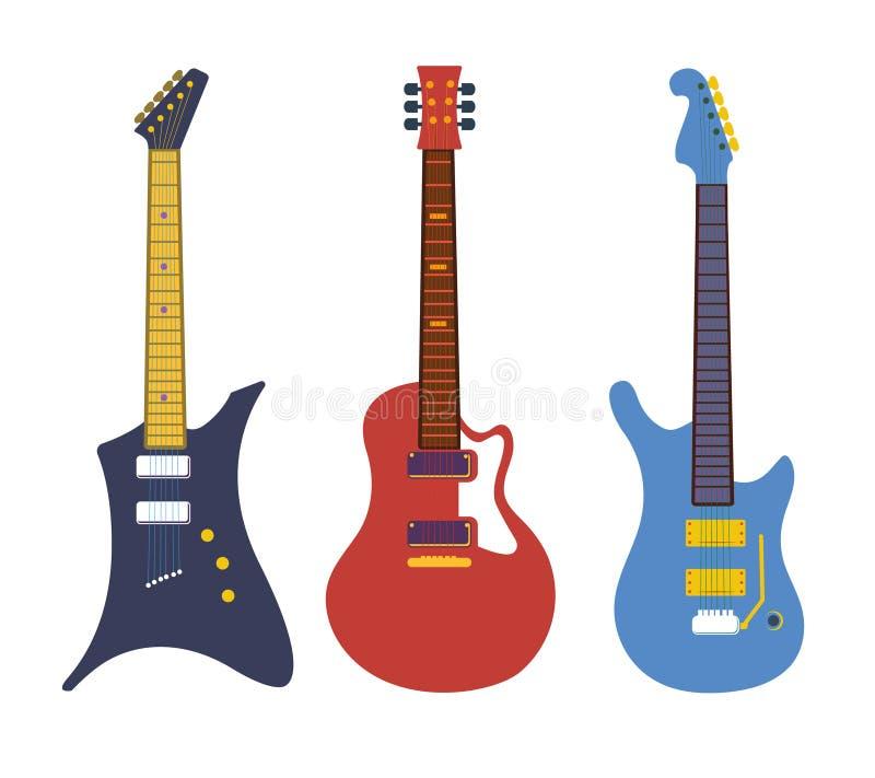 Guitares électriques basses de roche de vintage, ensemble plat de vecteur d'instruments de ficelle illustration de vecteur