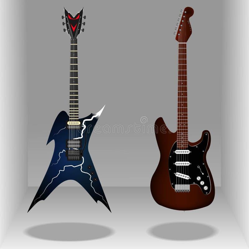 Guitares électriques classiques réalistes Style lisse illustration de vecteur