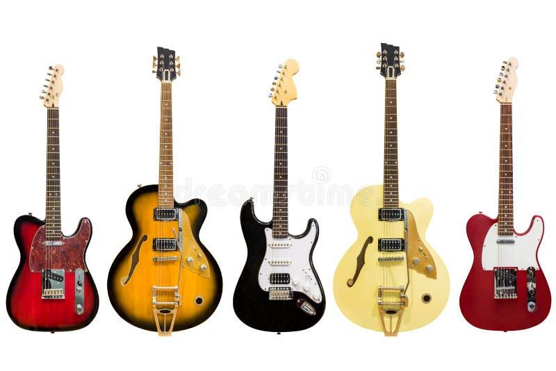 Guitares électriques d'isolement sur le fond blanc photos stock