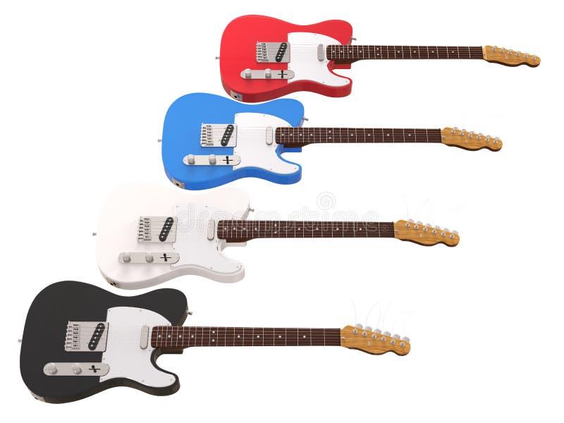Guitares électriques fraîches d'isolement sur le blanc photos stock