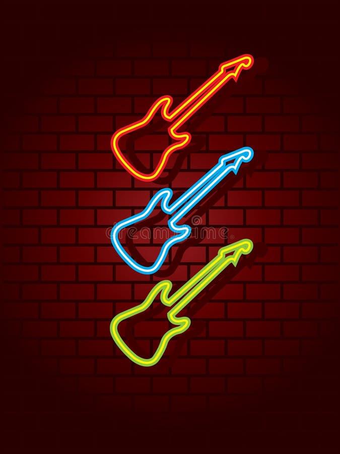 Guitares au néon illustration stock