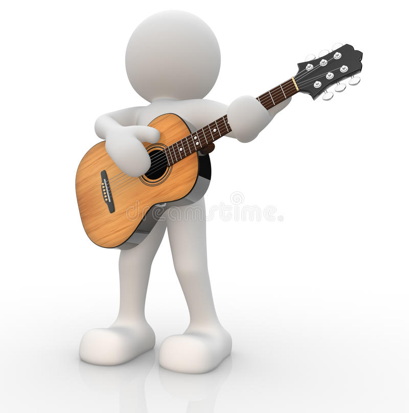 Guitarist. 3d people - human character, person with acoustic guitar. Guitarist. 3d render illustration stock illustration