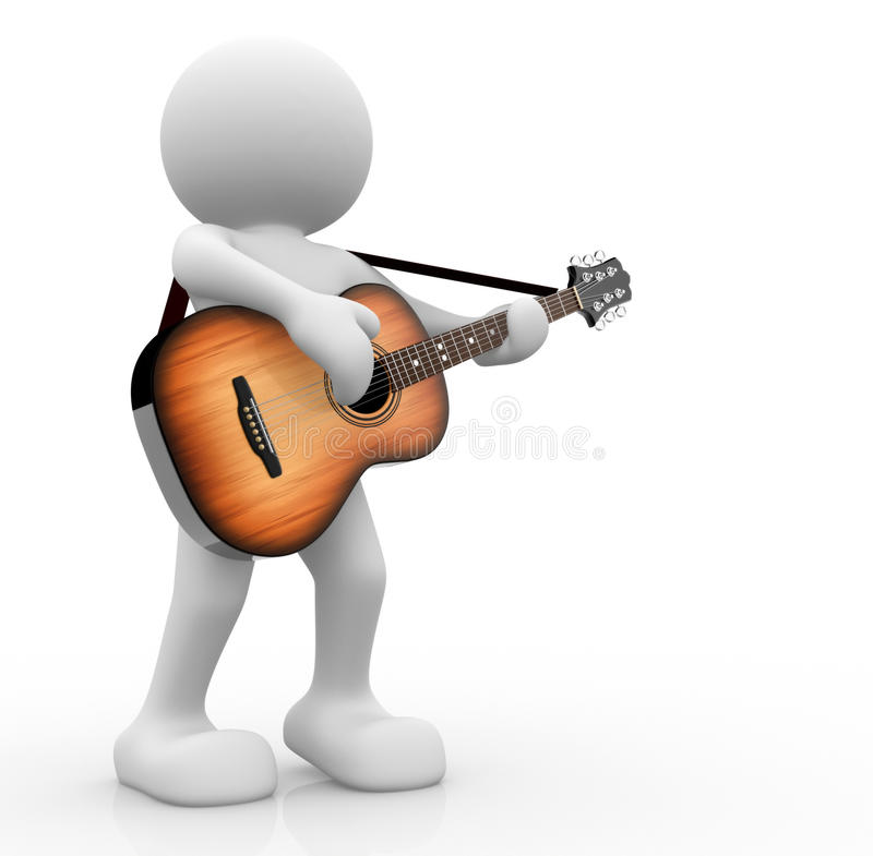 Guitarist. 3d people - human character, person with acoustic guitar. Guitarist. 3d render illustration royalty free illustration