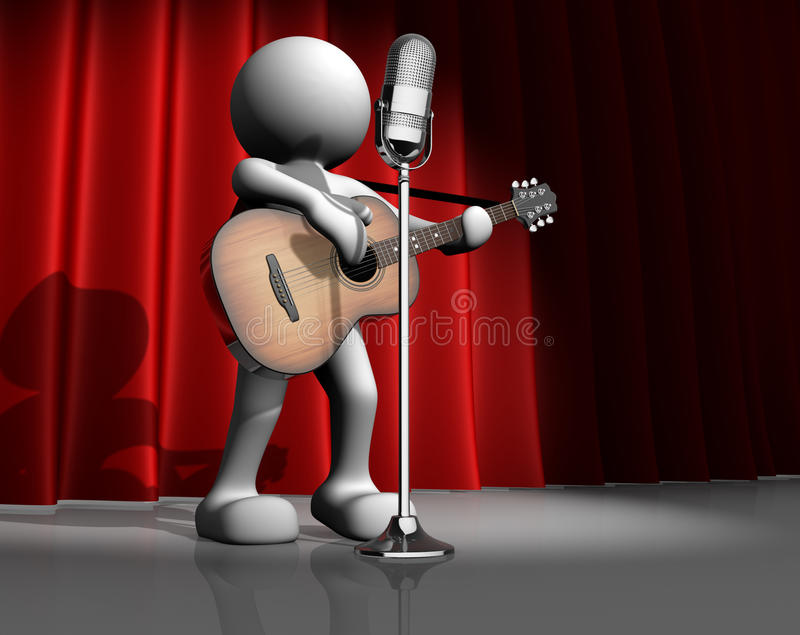 Guitarist. 3d people - human character, person with a acoustic guitar. Guitarist on stage at a microphone. 3d render royalty free illustration