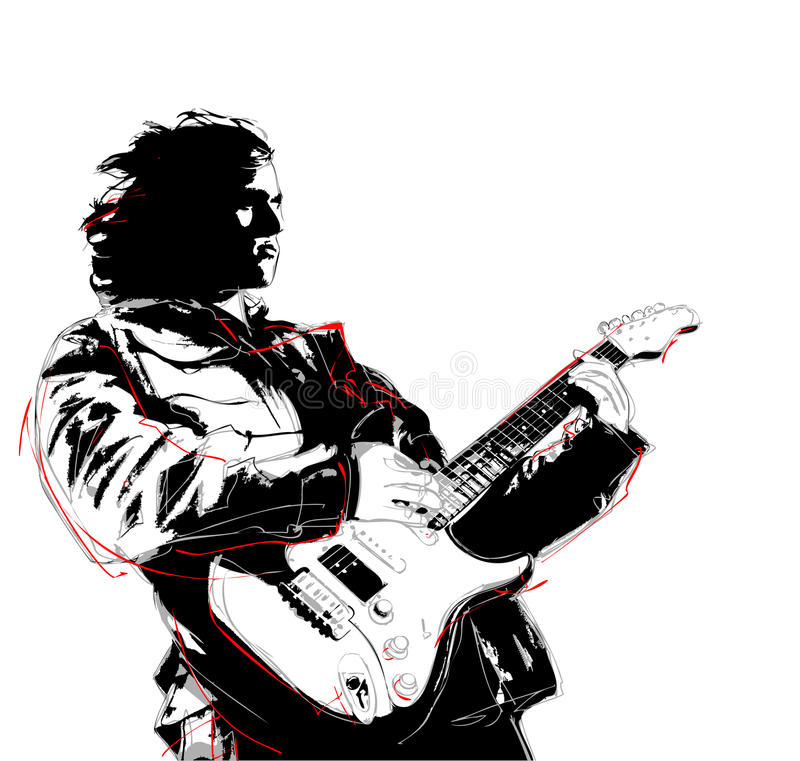 Guitarist. Illustration of guitarist in white background royalty free illustration