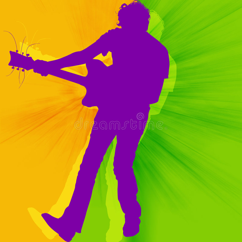 The guitarist. Playing rock music royalty free illustration