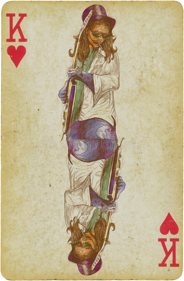 Guitarist. Rocker. /// Vintage (in the retro style) drawing drawn on the old playing card, king of hearts vector illustration