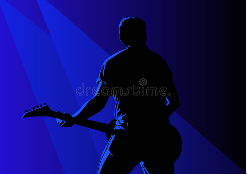 Guitarist. Vector illustration of a guitarist in action vector illustration