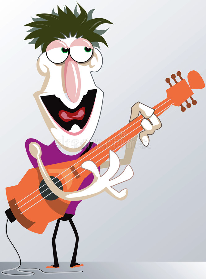 A guitarist. Playing his guitar vigorously and singing vector illustration