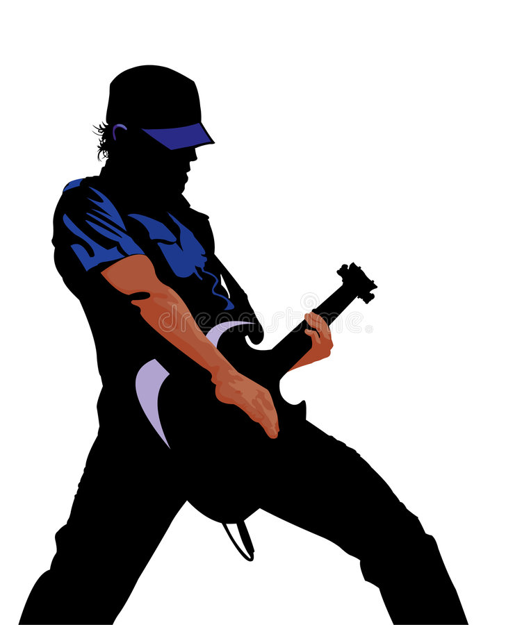 Guitarist. Vector image of guitarist isolated on white vector illustration
