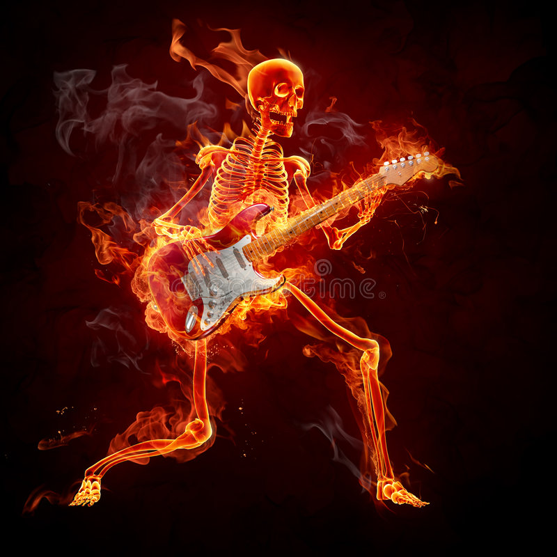Guitarist. Burning skeleton play guitar. Series of fiery illustrations