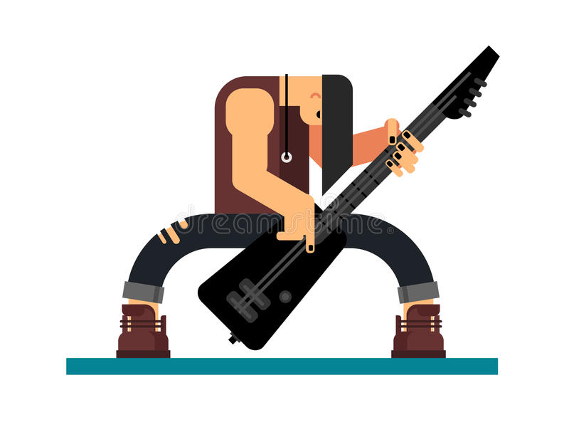 Guitarist character flat illustration. Guitarist character, guitar and musician, musical instrument, sound and performance and stage, flat vector illustration vector illustration