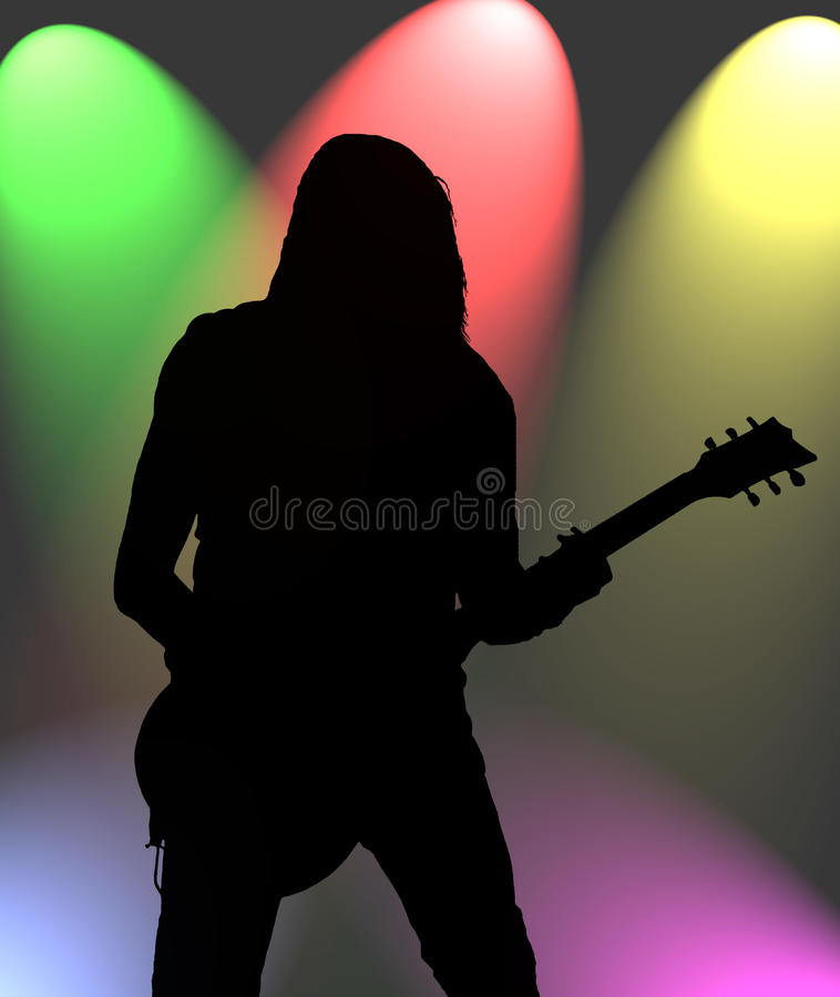 Guitarist in the colorful lights royalty free illustration