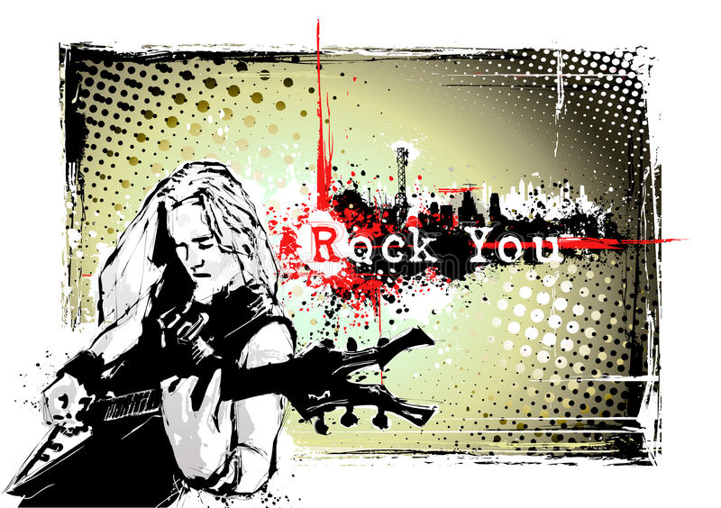 Guitarist frame. Guitarist in the grungy background royalty free illustration