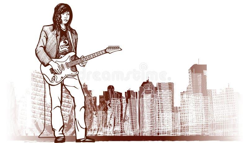 Guitarist on grunge background royalty free illustration