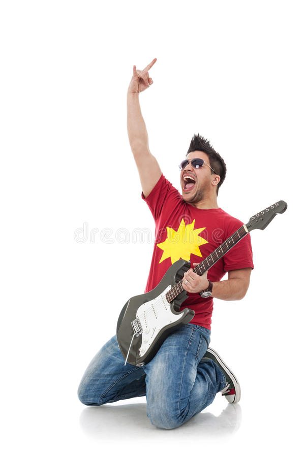 Download Guitarist On His Knees Rock Sign Stock Photo - Image: 27318206