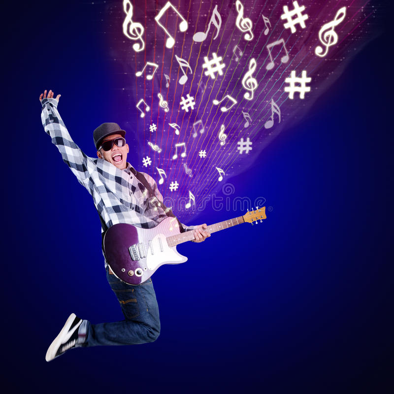 Guitarist jumping with musical notes on blue vector illustration
