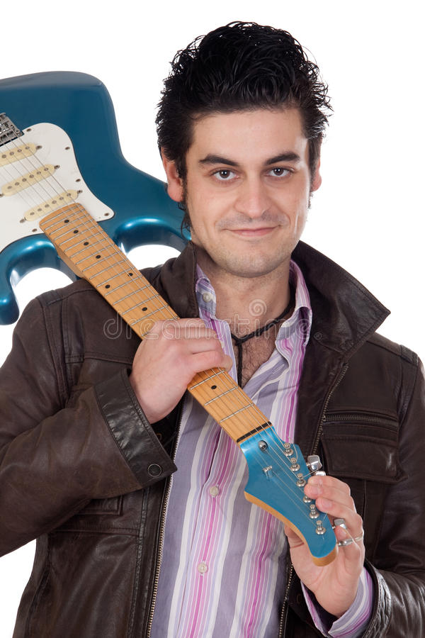 Guitarist leather jacket stock photo