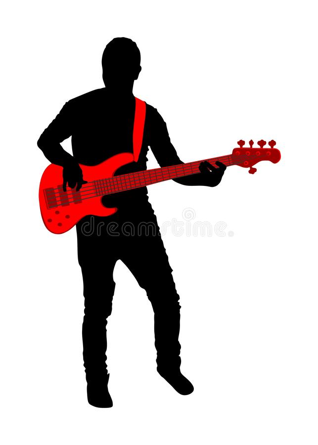 Guitarist player vector silhouette isolated on white background. Popular music super star on stage. Guitar music instrument. Rock and roll concert. Country royalty free illustration