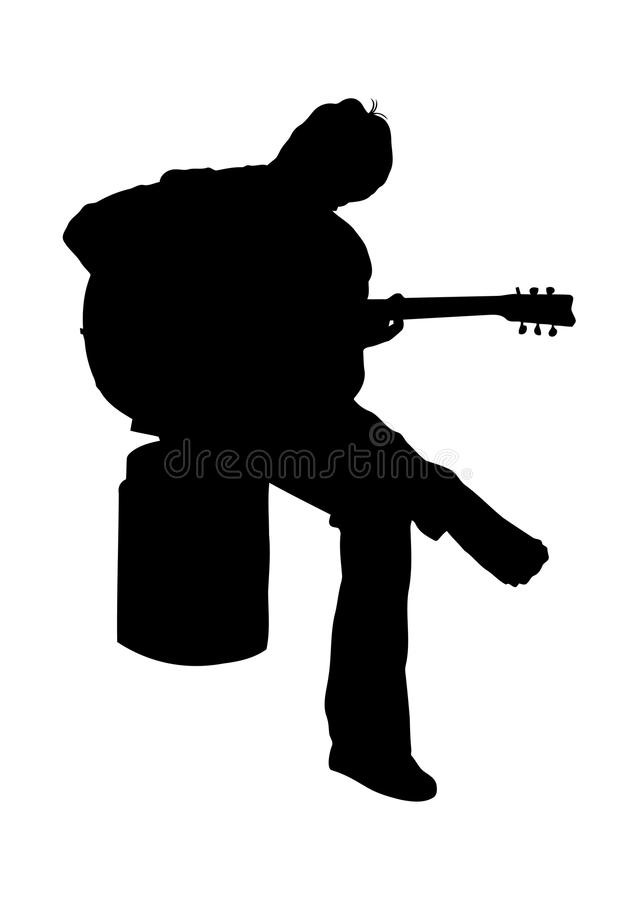 Guitarist silhouette. Illustration of young guitarist sitting silhouette stock illustration