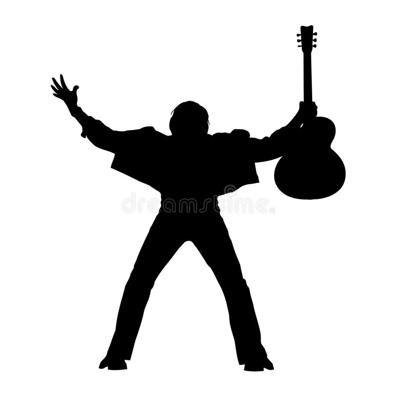 Guitarist silhouette. Illustration of young guitarist standing silhouette royalty free illustration