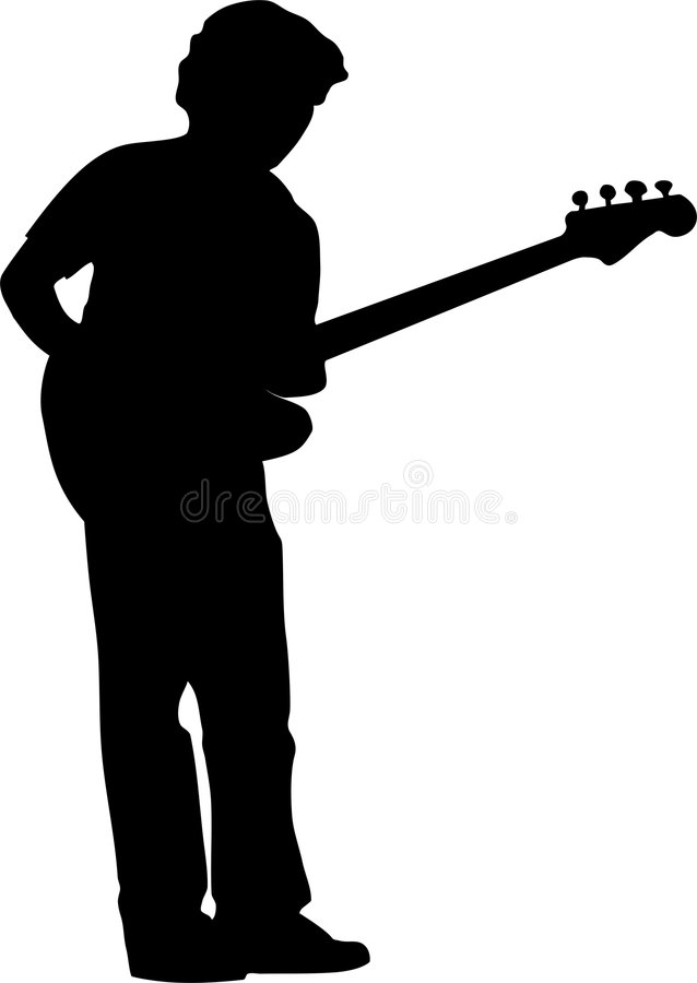 Guitarist silhouette royalty free stock photos