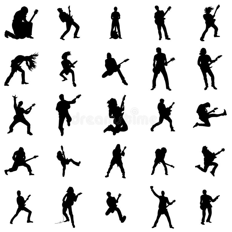 Guitarist silhouette set. Isolated on white background vector illustration