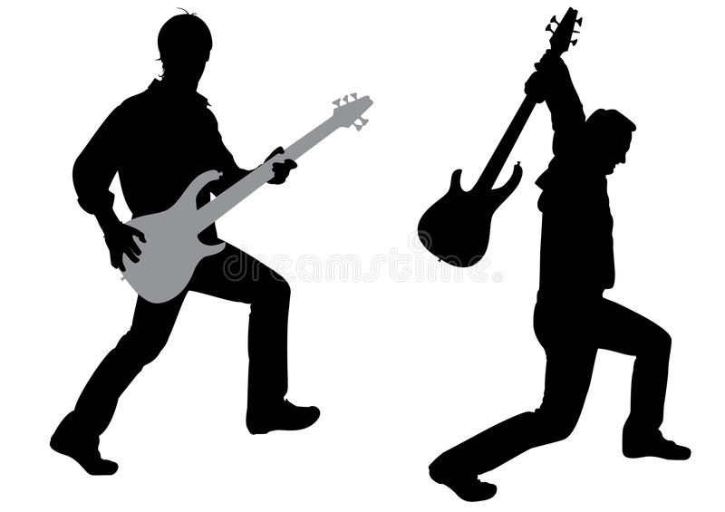 Guitarist silhouette vector. Guitarist silhouette on white, vector vector illustration
