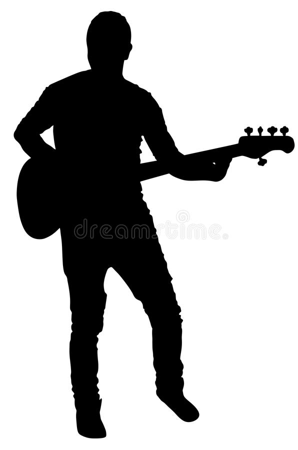 Guitarist vector silhouette illustration isolated on white background. Popular music super star on stage. Guitar music instrument. Rock and roll concert royalty free illustration
