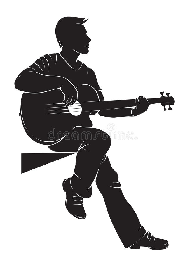 Guitarist. Vector silhouette on white background royalty free illustration