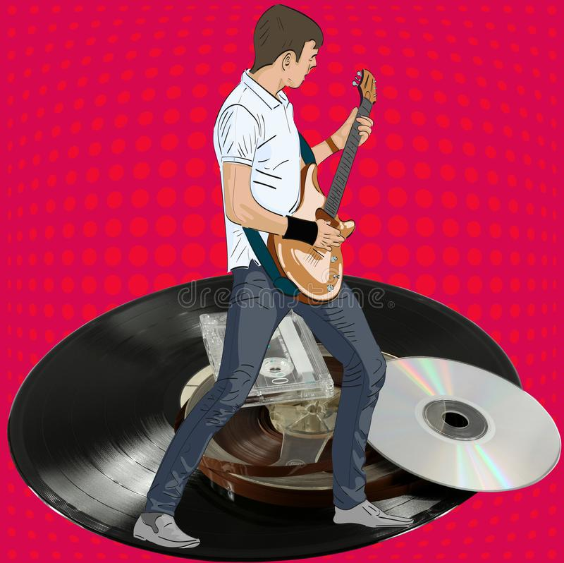Guitarist, vinyl and audio cassette. Illustration for Guitar Based Concerts and Music stock illustration