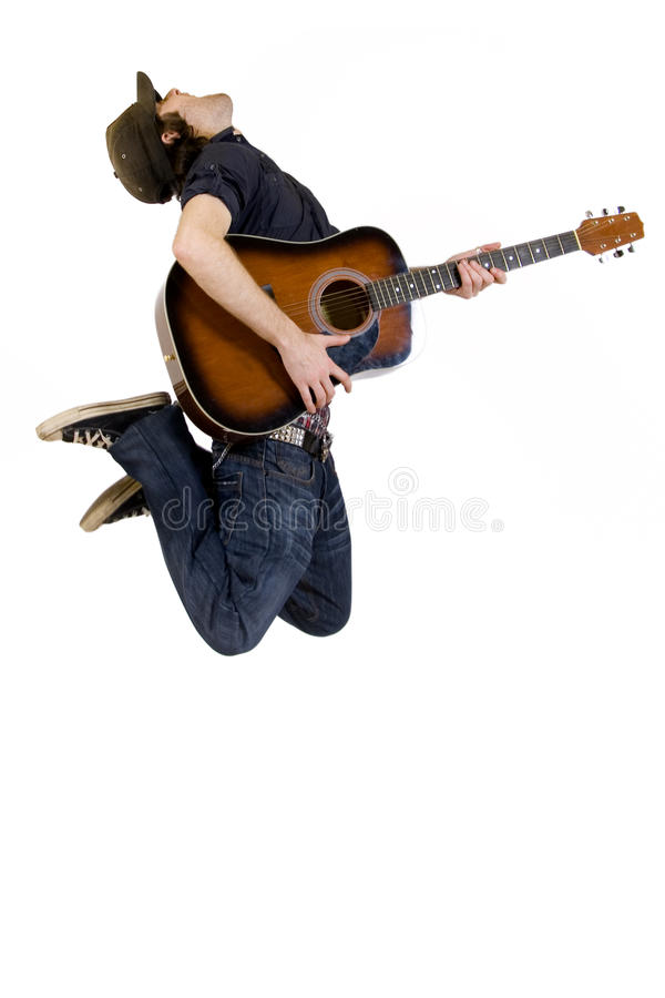 Free Guitarist With Hat Jumps Royalty Free Stock Images - 9450519