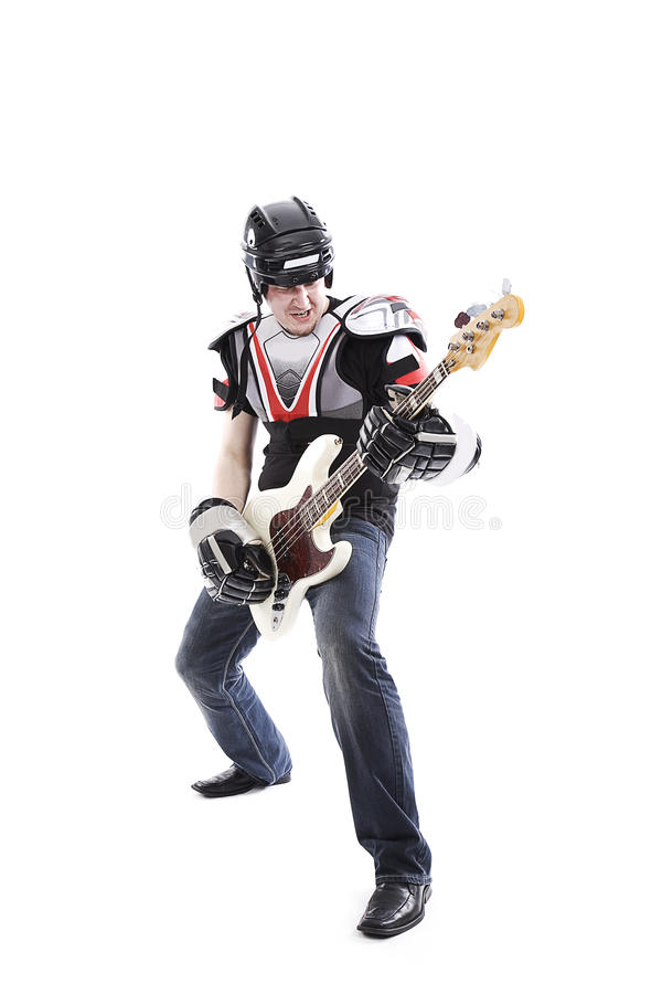 Free Guitarist With White Guitar Stock Image - 18141221