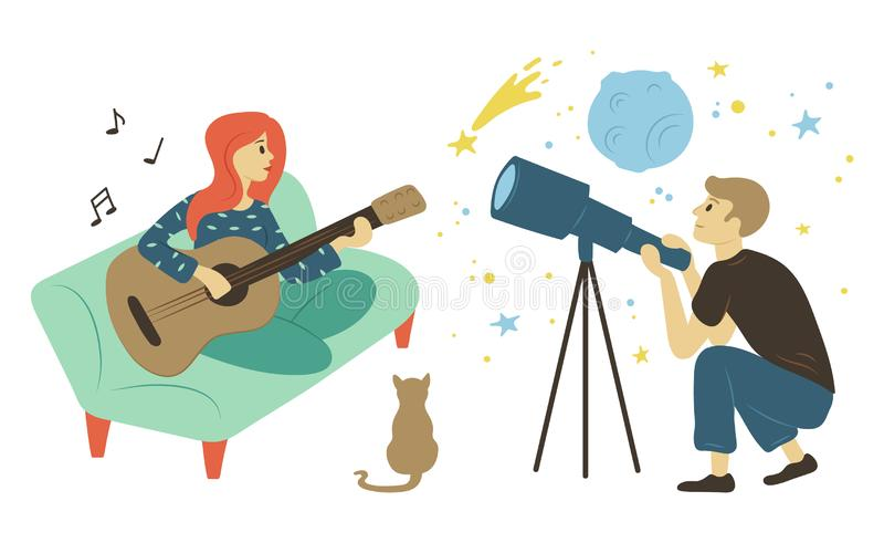 Guitarist Woman Astronomy Hobby, Pastime Vector vector illustration